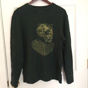 Merona Medium Green Bear Hipster Sweater